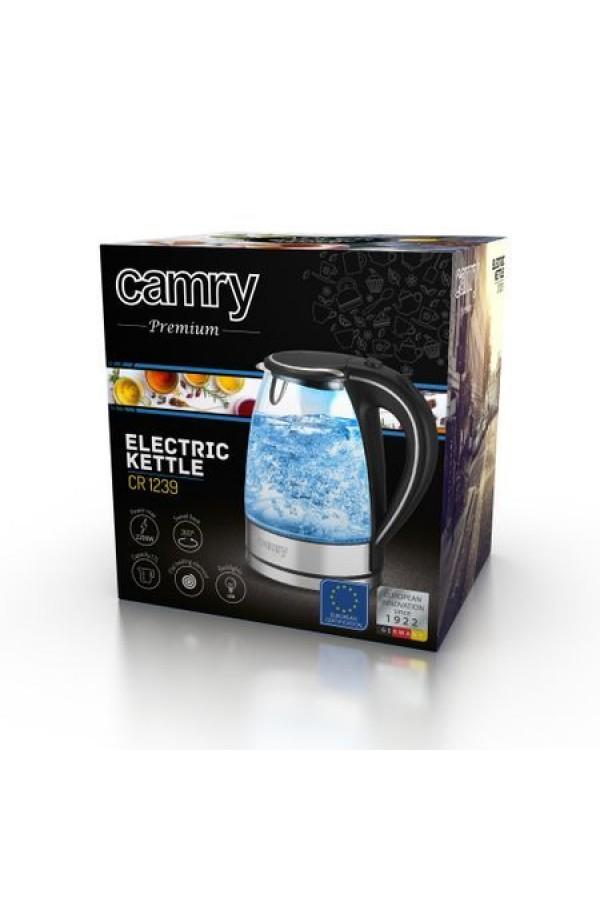 Нова Електрическа кана за вода Adler Camry Premium Glass, 1,7L, 2200W, LED